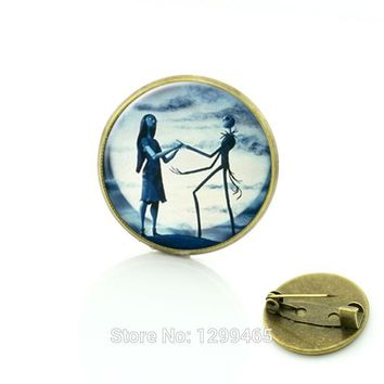 SALE Nightmare Before Christmas for men and women glass cabochon dome pin Jack and Sally jewelry  Vintage Dress Accessories C238
