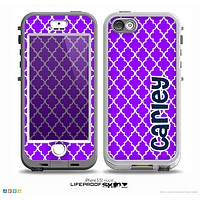 The Navy Blue Name Script Purple Morocan Pattern Skin for the iPhone 5-5s nüüd LifeProof Case