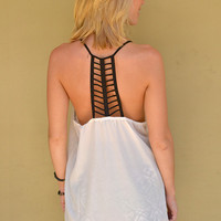 Cut Out Tank in Black & White | New Age Queen | Edgy Women's Tops, Skirts, Shorts, Dresses, Accessories, and More