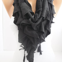 New- Gift  Triangle Curly Black Shawl /Scarf