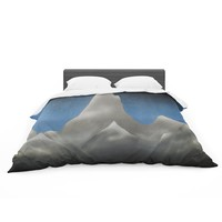 """Bruce Stanfield """"Snowy Mountains"""" Blue Teal Painting Featherweight Duvet Cover"""