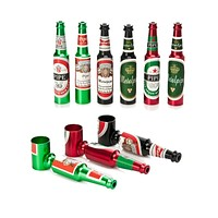 5Pcs/Lot Small Mini Beer Bottle Metal Pipe Many Colors Creative Cheap Smoking Pipes Best Gift For Smoker Portable Tobacco Pipe