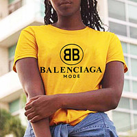 B Balenciaga Trending Women Man Letters Simple Print Tee Shirt Top Yellow