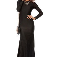 Black Luxe Tail Mermaid Maxi Dress