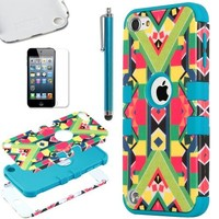 ULAK Hybrid Hard Pattern with Silicon Case Cover for Apple iPod Touch 5 Generation with Screen Protector and Stylus (Blue / Geometry Pattern)