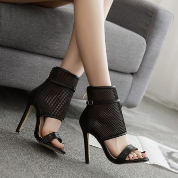 Mesh Transparent Open Toe Back Zipper Stiletto High Heel Sandals