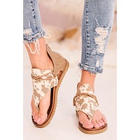 Out To Pasture Cow Printed Sandals (Tan Cream)