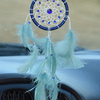 Car Dream catcher, Aqua Blue Dream catcher, Car Charm, Mini Dreamcatcher,  Gift for men, Car Decor.