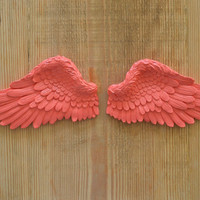 Vintage Antique Style Shabby Chic Coral Angel Wings Wall Art Decoration