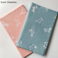 100% cotton twill cartoon BLUE PINK simple white dogs for DIY crib bedding dress patchwork handwork home decor textile