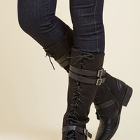 Band at Attention Boot in Black | Mod Retro Vintage Boots | ModCloth.com