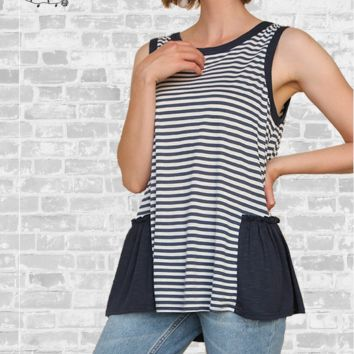 Striped Ruffle Hem Tank - Navy, Blush, Gray or Black - S, M & L