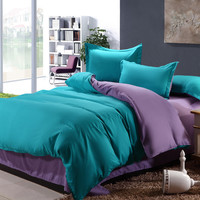 Bedding Set 4 Pieces Solid Color Brief Chic Style Sheet Duvet Cover Pillowcase
