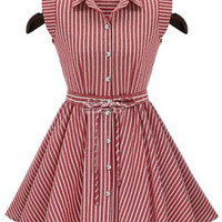 Red and White Pinstripe Sleeveless Pleated Flare Dress