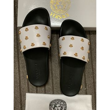 2021 Versace men NEW ARRIVALS Leather High heeled Casual Flat SandalS Slippers Shoes