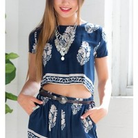 Fast Falling two piece set in navy print