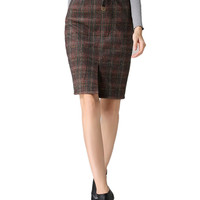 Coffee Belted Plaid Slit Front Pencil Skirt
