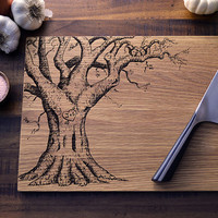 Personalized Cutting Board, Custom Engraved Wood Oak Tree With Carved Heart -10x15- Wedding Gift, Christmas Gift for New Couple