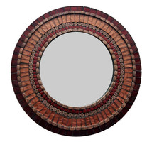 Round Accent Mirror / Mosaic Mirror / Copper and Brown / READY TO SHIP