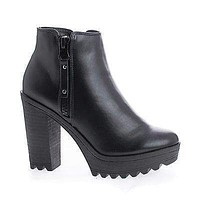Asha11 By Breckelles, Round Toe Zip Up Lug Sole High Heel Ankle Boots