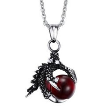 Vintage Dragon Claw Ball Necklace For Men