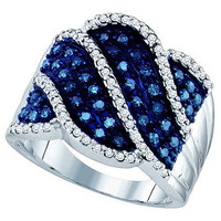 Blue Diamond Fashion Ring in 10k White Gold 0.77 ctw