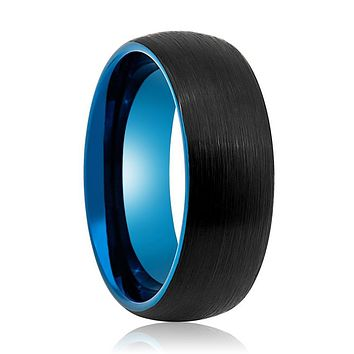Domed Black Outside and Blue Inside Ring with Brushed Finish and Beveled Edges.