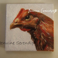 Voodoo chicken fowl play acrylic canvas painting 3x3 inches OOAK
