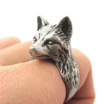 3D Unisex Wolf Face Shaped Animal Ring in Silver | US Size 6 to 10
