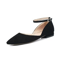 Genuine Leather Pointed Toe Ankle Strap Women Flats Shoes Big Size 9970