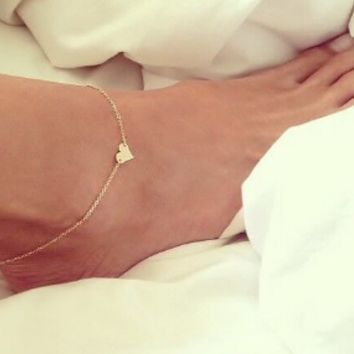 New Fashion jewelry Chain Sexy Gold Tone Love Heart Foot Jewelry Heart Anklets for Women Girl (With Thanksgiving&Christmas Gift Box)=9980161542