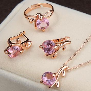 Jewelry Sets African Bridal Gold Color Necklace Earrings Ring Wedding Crystal Women Fashion Jewellery Set