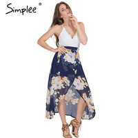 Simplee Sexy print lace summer dress Strap deep v neck high waist beach dresses women 2016 new slit backless long dress