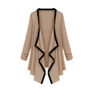 Coffee Contrast Long Sleeve Asymmetric Cape Cardigan Top