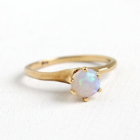 Antique 14K Rose Gold Opal Ring- Vintage Size 5 3/4 Early 1900s Edwardian Art Deco Solitaire Fine Jewelry
