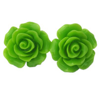 """Women's """"Large Rose"""" Earrings by Juicy Lucy (Lime Green)"""