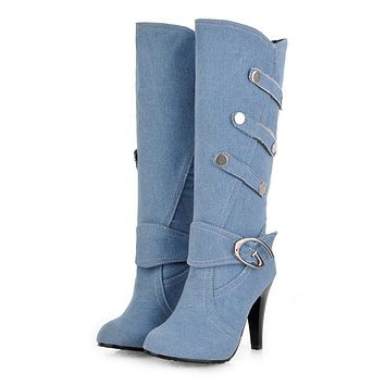 Women's Boots Stiletto Heel Pointed Toe Denim Mid-Calf Boots Fashion Boots Fall & Winter Black / Dark Blue / Light Blue / Party & Evening