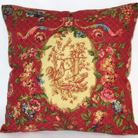 "Waverly Red Chicken Pillow In Saison de Printemps Rouge Rooster Toile, Reversible Gingham Check, 18"" Square, Cover Only or Insert  Included"
