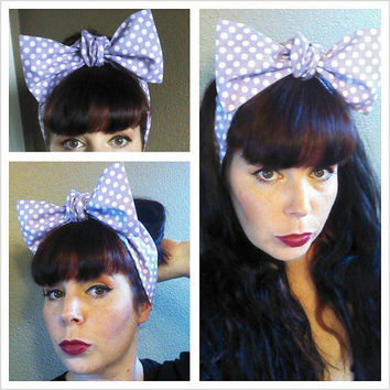 Light Purple with White Polka Dots Headwrap Bandana Rockabilly Hair Big Bow Tie 1950s Vintage Style - Rockabilly - Pin Up - For Women, Teens