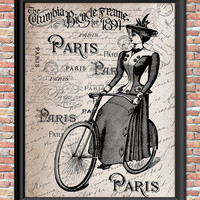 Antique French Style Art Print Woman on Vintage Bike Pairs Handwriting Printable Digital Download Wall Home Decor