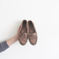 moose leather moccasins . brown moosehide minnetonka shoes