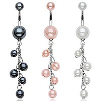 Pearl Coated WildKlass Navel Ring Pearlish beads Dangle (Sold by Piece)