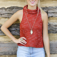 Lazy Afternoons Red Sleeveless Knit Turtleneck Crop Top