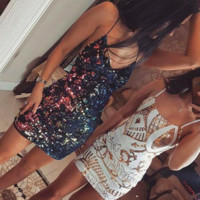 White & Gold Sequin Party Dress