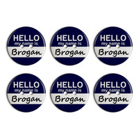 Brogan Hello My Name Is Plastic Resin Button Set of 6