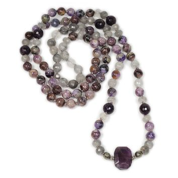 Charoite, Cloudy Quartz, and Amethyst Hand Knotted Mala Necklace