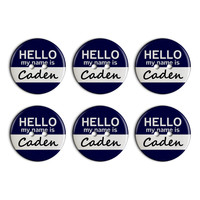 Caden Hello My Name Is Plastic Resin Button Set of 6