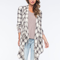 Billabong Once Again Womens Flannel Wrap White/Black  In Sizes