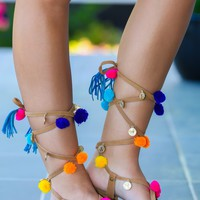 Have Fun Camel Lace-Up Sandals
