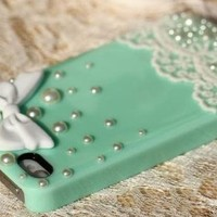 Sole Trader @ New Iphone 5 Protective Hard Case Swarovski Diamond White Pearl Bow Lace Skin Cover in Green